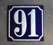 Alte Emaille-Hausnummer, gewölbt, 12 cm x 12 cm