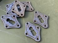 Schlüsselrosetten aus Gußeisen mit Ornament, neu hergestellt