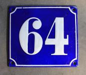Alte Emaille-Hausnummer, gewölbt, 16 cm x 14 cm