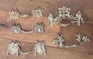 Fünf alte Ziehgriffe aus dem 19. Jahrhundert