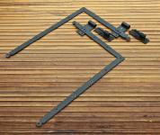 1 Paar lange, alte Winkelbänder mit Plattenkloben, 19.Jh.