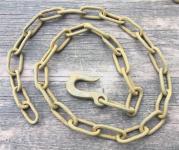 Alte, rostige Eisenkette mit geschmiedetem Haken, 165cm