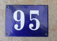 Große alte Hausnummer aus Emaille, 21 x 13,5 cm