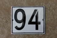 Kleine Emaille-Hausnummer, schwarz-weiß, 12 x 10 cm