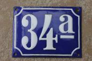 Große alte Hausnummer aus Emaille, 20 x 15 cm
