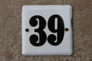 Einfache Emaille-Hausnummer, 10,5 x 10,5 cm