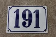 Historische Emaille-Hausnummer 191 in Weiß, gewölbt, 14 x 10 cm