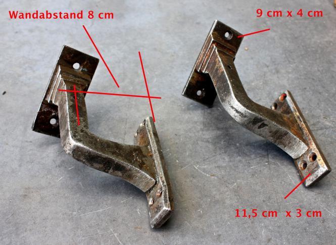 1 Paar alte Handlaufstützen, sehr stabil geschmiedet